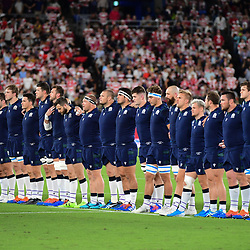 Scotland stand for a minute of silence for the victims of Typhoon Hagibis before the Rugby World Cup match between Japan and Scotland at International Stadium Yokohama on October 13, 2019 in Yokohama, Japan. (Photo by Dave Winter/Icon Sport) - --- - International Stadium Yokohama - Yokohama (Japon)