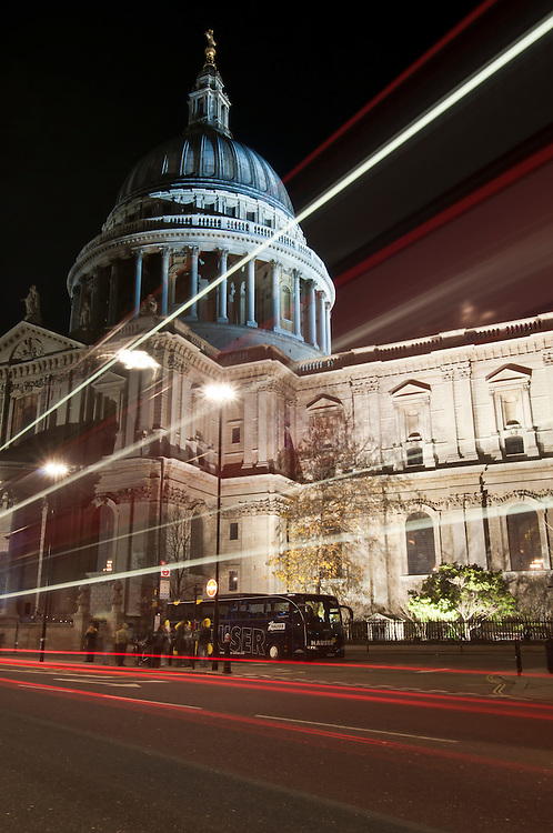 St. Paul's Cathedral at night, motion blur traffic lights, London, United Kingdom