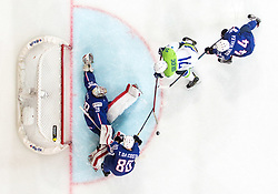 Bostjan Golicic of Slovenia vs Olivier Dame-Malka of France, Cristobal Huet of France and Teddy da Costa of France during the 2017 IIHF Men's World Championship group B Ice hockey match between National Teams of France and Slovenia, on May 15, 2017 in AccorHotels Arena in Paris, France. Photo by Vid Ponikvar / Sportida