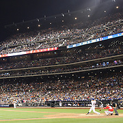 Lucas Duda, New York Mets, hits his second solo home run of the night in the 7th inning during the New York Mets Vs Washington Nationals. MLB regular season baseball game at Citi Field, Queens, New York. USA. 1st August 2015. Photo Tim Clayton