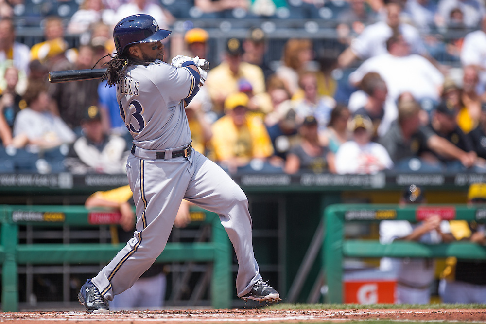PITTSBURGH, PA - JUNE 08: Rickie Weeks #23 of the Milwaukee Brewers bats during the game against the Pittsburgh Pirates at PNC Park on June 8, 2014 in Pittsburgh, Pennsylvania. (Photo by Rob Tringali) *** Local Caption *** Rickie Weeks