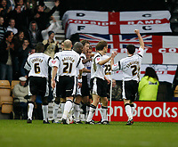 Derby County celebrate the first goal scored by Arturo Lupoli