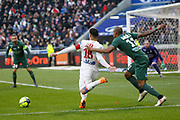 Nabil Fekir of Lyon and Gabriel Antunes Da Silva of Saint Etienne during the French Championship Ligue 1 football match between Olympique Lyonnais and AS Saint-Etienne on february 25, 2018 at Groupama stadium in Décines-Charpieu near Lyon, France - Photo Romain Biard / Isports / ProSportsImages / DPPI
