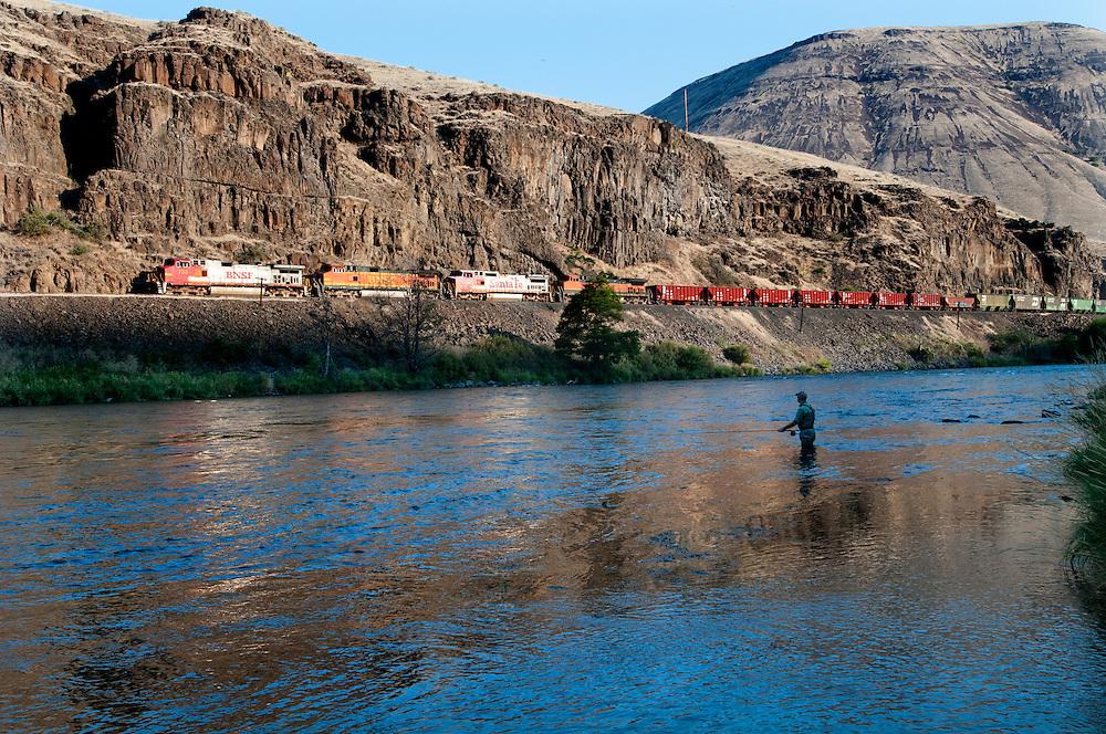 A fisherman swings for steelhead on the Deschutes River
