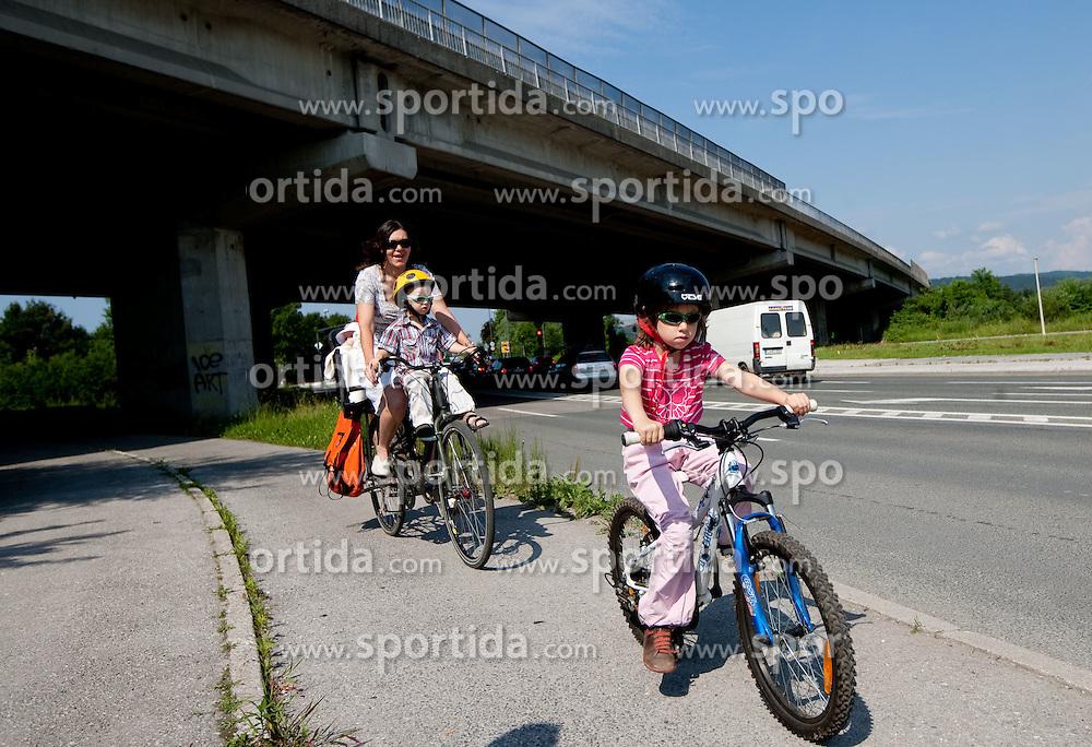 Family ride bikes, on June 12, 2011 in Ljubljana, Slovenia.  (Photo By Vid Ponikvar / Sportida.com)