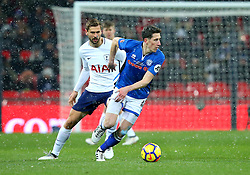 Jim McNulty of Rochdale takes on Fernando Llorente of Tottenham Hotspur - Mandatory by-line: Robbie Stephenson/JMP - 28/02/2018 - FOOTBALL - Wembley Stadium - London, England - Tottenham Hotspur v Rochdale - Emirates FA Cup fifth round proper
