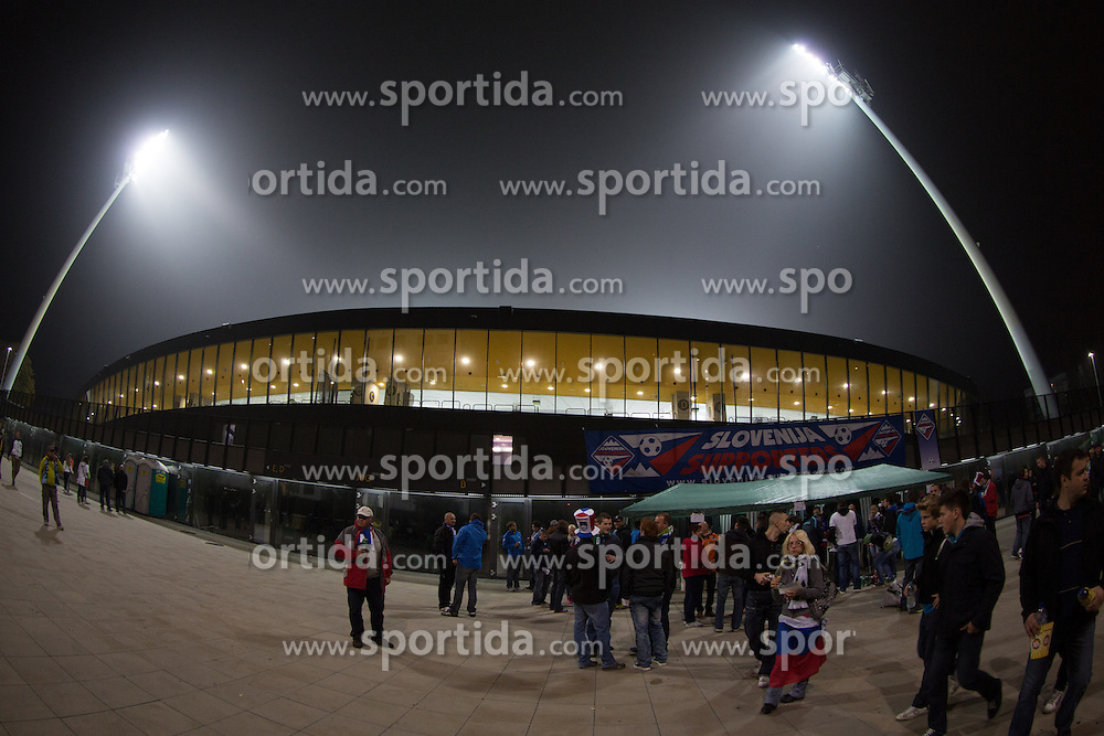 Fans outside of the stadium before football match between National teams of Slovenia and Cyprus in 3rd Round of Group E of FIFA World Cup 2014 Qualification on October 12, 2012 in Stadium Ljudski vrt, Maribor, Slovenia. (Photo by Matic Klansek Velej / Sportida)