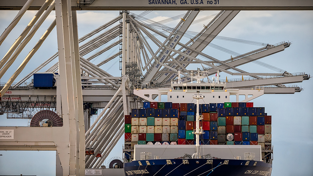 The 14,000 TEU container ship CMA CGM Theodore Roosevelt docks at the Georgia Ports Authority Garden City Terminal to being unloading cargo, Friday, Sept., 1, 2017, Garden City, Ga.  (GPA Photo/Stephen Morton)