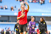 Manchester United Women defender Abbie McManus (5) waves to fans during the FA Women's Super League match between Manchester City Women and Manchester United Women at the Sport City Academy Stadium, Manchester, United Kingdom on 7 September 2019.