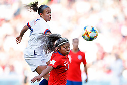 2019?6?17?.   ???????????——F??????????.    6?16???????????????????????????  .   ?????????????????2019??????????F??????????3?0??????.   ?????????..SP-FRANCE-PARIS-FIFA WOMEN'S WORLD CUP-GROUP F-USA-CHILE.(1906017) -- PARIS, June 17, 2019  Mallory Pugh (L) of the United States competes with Javiera Toro of Chile during the Group F match between the United States and Chile at the 2019 FIFA Women's World Cup in Parc des Princes in Paris, France, June 16, 2019.  The United States won 3-0. (Credit Image: © Xinhua via ZUMA Wire)