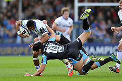 Anthony Watson of Bath Rugby takes on the Glasgow Warriors defence - Photo mandatory by-line: Patrick Khachfe/JMP - Mobile: 07966 386802 18/10/2014 - SPORT - RUGBY UNION - Glasgow - Scotstoun Stadium - Glasgow Warriors v Bath Rugby - European Rugby Champions Cup