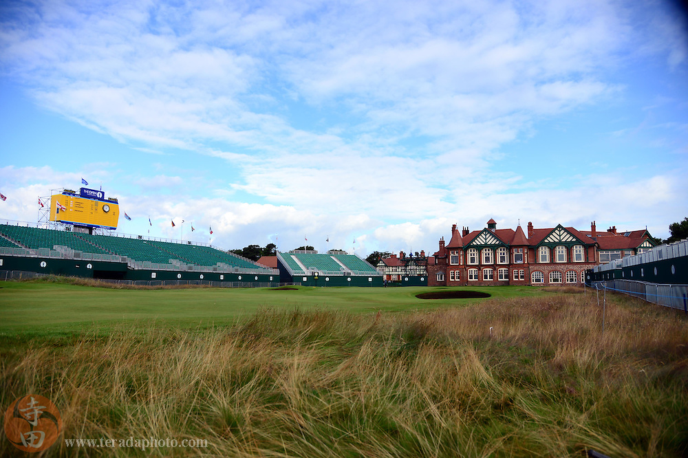 July 20, 2012; St. Annes, ENGLAND; General view of the 18th hole and the clubhouse during the second round of the 2012 British Open Championship at Royal Lytham & St. Annes Golf Club.