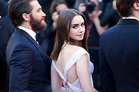 Jake Gyllenhaal and Lily Collins at the Okja gala screening,  at the 70th Cannes Film Festival Friday 19th May 2017, Cannes, France. Photo credit: Doreen Kennedy