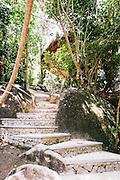 Stone stairway to villa