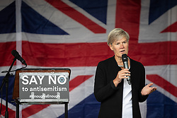 © Licensed to London News Pictures . 16/09/2018. Manchester, UK. KATE GREEN MP . Thousands of people including the UK's Chief Rabbi and several Members of Parliament attend a demonstration against rising anti-Semitism in British politics and society , at Cathedral Gardens in Manchester City Centre . Photo credit : Joel Goodman/LNP