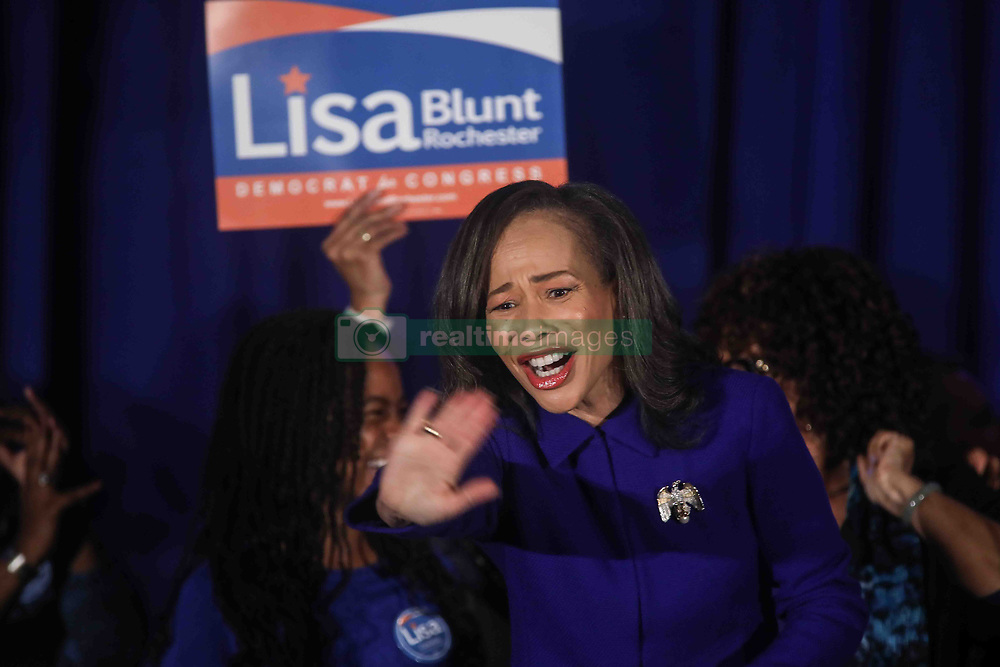 November 6, 2018 - Wilmington, Delaware, United States of America - Incumbent Democrat LISA BLUNT ROCHESTER greets supporters during Democrat Watch Party Tuesday, Nov. 06, 2018, at the Doubletree Hotel in Wilmington, Delaware. (Credit Image: © Saquan Stimpson/ZUMA Wire)