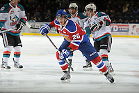 KELOWNA, CANADA, FEBRUARY 15: Kristians Pelss #26 of the Edmonton Oil Kings skates on the ice at the Kelowna Rockets on February 15, 2012 at Prospera Place in Kelowna, British Columbia, Canada (Photo by Marissa Baecker/Shoot the Breeze) *** Local Caption ***