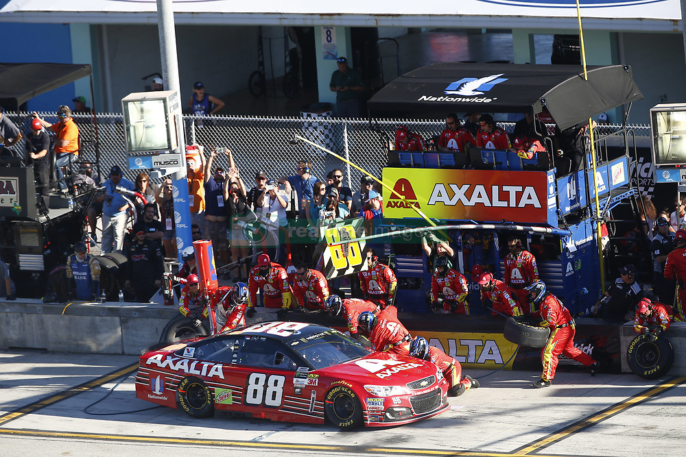 November 19, 2017 - Homestead, Florida, United States of America - November 19, 2017 - Homestead, Florida, USA: Dale Earnhardt Jr. (88) comes down pit road for service during the Ford EcoBoost 400 at Homestead-Miami Speedway in Homestead, Florida. (Credit Image: © Justin R. Noe Asp Inc/ASP via ZUMA Wire)