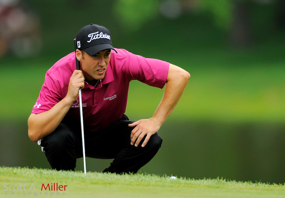 Aug 15, 2009; Chaska, MN, USA; Ross Fisher (GBR) lines up a shot on the 11th green during the third round of the 2009 PGA Championship at Hazeltine National Golf Club.  ©2009 Scott A. Miller