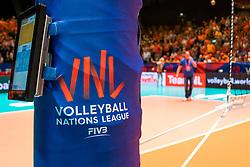 29-05-2019 NED: Volleyball Nations League Netherlands - Bulgaria, Apeldoorn<br /> Referee scorebord Ipad, VNL sticker