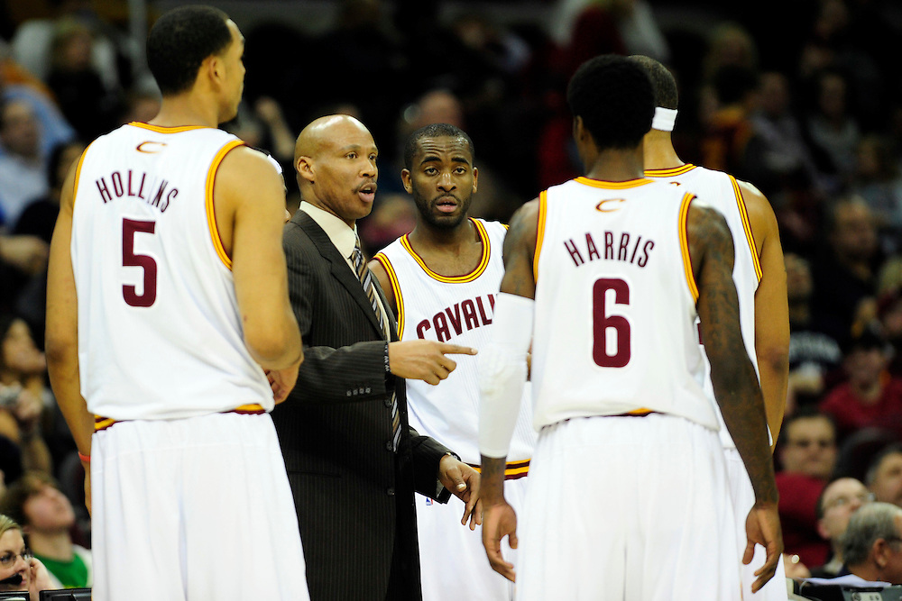 Feb. 5, 2011; Cleveland, OH, USA; Cleveland Cavaliers head coach Byron Scott talks to his team during a timeout during the fourth quarter against the Portland Trail Blazers at Quicken Loans Arena. Mandatory Credit: Jason Miller-US PRESSWIRE