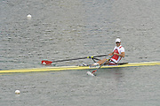 Munich GERMANY, SUI M1X, Andre VONARBURG, qualifies, for Sundays final of the men's single sculls at the 2nd Round FISA World cup on the Olympic Rowing Course Munich, Saturday  20/06/2009, [Mandatory Credit. Peter Spurrier/Intersport Images]