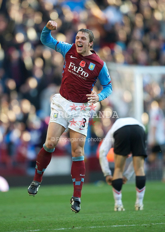 BIRMINGHAM, ENGLAND - Saturday, November 13, 2010: Aston Villa's Stephen Warnock celebrates his side's second goal against Manchester United after being subjected to torrents of abuse throughout the Premiership match at Villa Park. (Photo by David Rawcliffe/Propaganda)