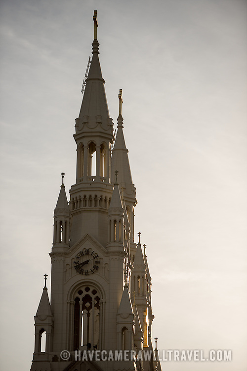 The spires of Saints Peter and Paul Church in the North Beach neighborhood of San Francisco, California.