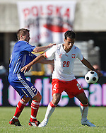 CHORZOW 01/06/2008.POLAND v DENMARK.INTERNATIONAL FRIENDLY.MARTIN RETOV OF DENMARK AND ROGER GUERREIRO OF POLAND ..FOT. PIOTR HAWALEJ / WROFOTO