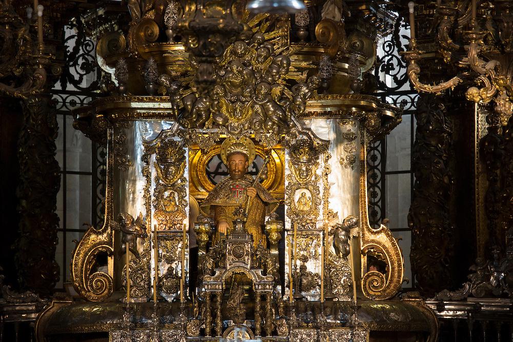 High altar in the Roman Catholic cathedral, Catedral de Santiago de Compostela, Galicia, Spain