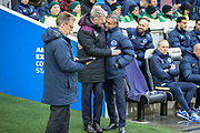 West Ham United manager David Moyes greets Brighton and Hove Albion manager Chris Hughton during the Premier League match between Brighton and Hove Albion and West Ham United at the American Express Community Stadium, Brighton and Hove, England on 3 February 2018. Picture by Phil Duncan.