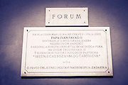 Plaque at St. Donatus Church and Roman forum, Zadar, Dalmatian Coast, Croatia