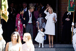 Prince Christian of Hanover, his fiancee Alessadra de Osma and his mother Chantal Hochuli at the wedding ceremony of heir of the throne of German House of Hanover, Prince Ernst August Jr. of Hanover, Duke of Braunscshweig and Lueneburg, and Russian designer Ekaterina Masysheva at the Marktkirche church in Hanover, Germany, 08 July 2017. The son of Prince Ernst August of Hanover Sen., who is married to Princess Caroline of Monaco, is related to several royal houses in Europe. The House of Hanover is a German royal dynasty that also ruled the United Kingdom between. Ernst-August Sr.'s own father (Ernst-August IV) opposed his son's marriage to first wife Chantal, a Swiss commoner. Photo by Robin Utrecht/ABACAPRESS.COM