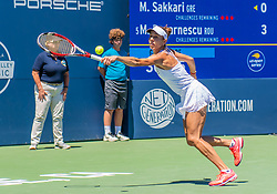August 5, 2018 - San Jose, CA, U.S. - SAN JOSE, CA - AUGUST 05: Mihaela Buzarnescu (ROU) stretches for a volley during the WTA Singles Championship at the Mubadala Silicon Valley Classic  at the San Jose State University Stadium Court in San Jose, CA  on Sunday, August 5, 2018. (Photo by Douglas Stringer/Icon Sportswire) (Credit Image: © Douglas Stringer/Icon SMI via ZUMA Press)