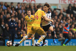 12 March 2017 - The FA Cup - (Sixth Round) - Tottenham Hotspur v Millwall - Son Heung-min of Tottenham Hotspur collides with Jake Cooper of Millwall - Photo: Marc Atkins / Offside.