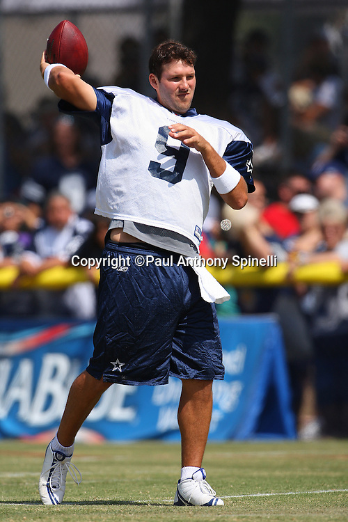 OXNARD, CA - AUGUST 01:  Quarterback Tony Romo #9 of the Dallas Cowboys throws a pass without his helmet on during the 2008 Dallas Cowboys Training Camp at River Ridge Field on August 1, 2008 in Oxnard, California. ©Paul Anthony Spinelli *** Local Caption *** Tony Romo