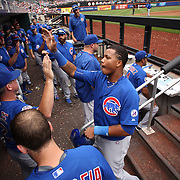 Starlin Castro, Chicago Cubs, is congratulated by team mates after scoring a run during the New York Mets Vs Chicago Cubs MLB regular season baseball game at Citi Field, Queens, New York. USA. 2nd July 2015. Photo Tim Clayton