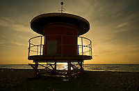 Lifeguard shelter at sunrise in Miami Beach, Florida, USA.