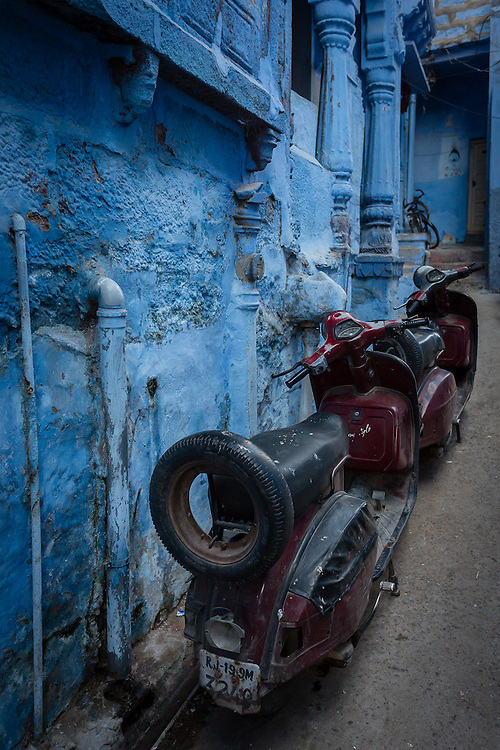 Two scooters in a side street of the old Jodhpur