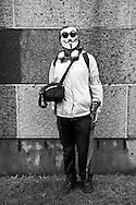 Portraits of people at Occupy LA in downtown Los Angeles..Anonymous.