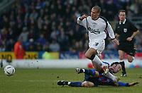 Fotball, 26. januar 2003, Crystal Palace V Liverpool FA cup 4th round. Selhurst park.<br />Shaun Derry,  Palace,  og  Bruno Cheyrou Liverpool<br />Foto: Scott Heavey, Digitalsport