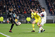 Sergio Asenjo of Villarreal and Álvaro of Villarreal and Nabil Fekir of Lyon during the UEFA Europa League, Round of 32, 1st leg football match between Olympique Lyonnais and Villarreal on February 15, 2018 at Groupama stadium at Decines-Charpieu near Lyon, France - Photo Romain Biard / Isports / ProSportsImages / DPPI