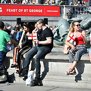 Feast of St George to celebrate English culture with music and English food stalls in Trafalgar Square on 20 April 2019, London, UK.