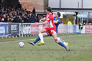Barry Fuller (Captain) of AFC Wimbledon and Sean McConville of Accrington Stanley FC battle during the Sky Bet League 2 match between AFC Wimbledon and Accrington Stanley at the Cherry Red Records Stadium, Kingston, England on 5 March 2016. Photo by Stuart Butcher.