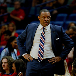 May 6, 2018; New Orleans, LA, USA; New Orleans Pelicans head coach Alvin Gentry against the Golden State Warriors during the fourth quarter in game four of the second round of the 2018 NBA Playoffs at the Smoothie King Center. The Warriors defeated the Pelicans 118-92. Mandatory Credit: Derick E. Hingle-USA TODAY Sports