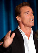 San Diego, CA, USA, Oct. 10th 2003: On the first day of the Arnold Schwarzenegger campaign bus tour throughout California, the gubernatorial candidate had to face charges of alleged sexual harassment of six women as well as an old article quoting him admiring Adolf Hitler as a leader.<br /> <br />  *** Local Caption ***