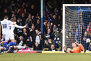 Gillingham forward Luke Norris equalises (1-1) during the Sky Bet League 1 match between Southend United and Gillingham at Roots Hall, Southend, England on 19 March 2016. Photo by Martin Cole.