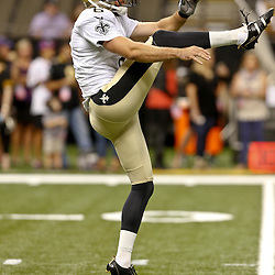 Aug 28, 2014; New Orleans, LA, USA; New Orleans Saints punter Thomas Morstead (6) warms up before a preseason game against the Baltimore Ravens at Mercedes-Benz Superdome. The Ravens defeated the Saints 22-13. Mandatory Credit: Derick E. Hingle-USA TODAY Sports