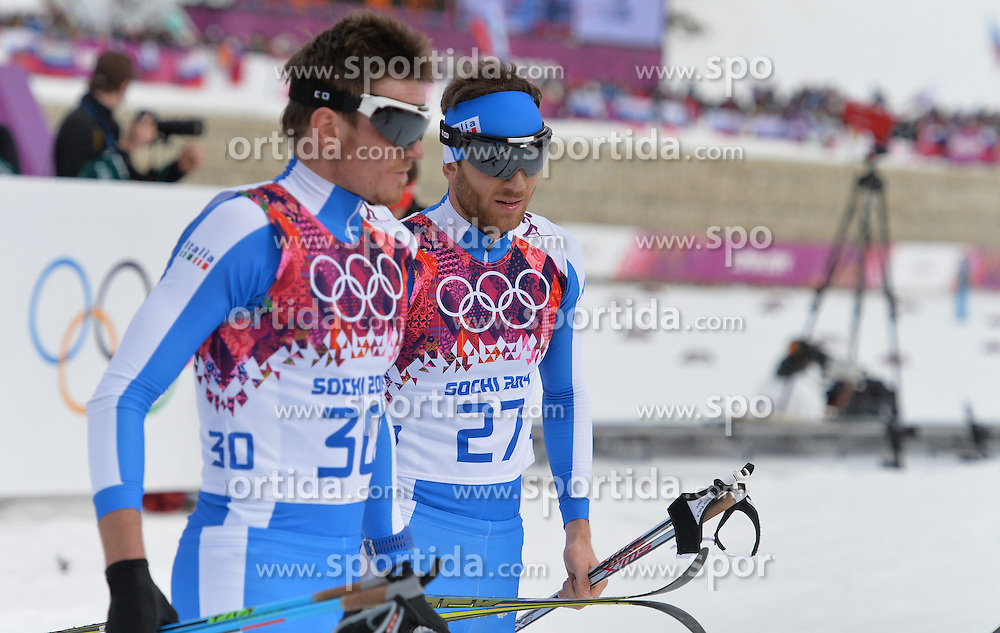 14.02.2014, Laura Cross-country Ski &amp; Biathlon Center, Krasnaya Polyana, RUS, Sochi, 2014, Herren Langlauf 15km, Classic, im Bild DIETMAR NOECKLER MATTIA PELLEGRIN WLOCHY // DIETMAR NOECKLER MATTIA PELLEGRIN WLOCHY during Mens Cross Country 15km Classic Race of the Olympic Winter Games Sochi 2014 at the Laura Cross-country Ski &amp; Biathlon Center in Krasnaya Polyana, Russia on 2014/02/14. EXPA Pictures &copy; 2014, PhotoCredit: EXPA/ Newspix/ TOMASZ JAGODZINSKI<br /> <br /> *****ATTENTION - for AUT, SLO, CRO, SRB, BIH, MAZ, TUR, SUI, SWE only*****