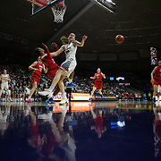 Breanna Stewart, UConn, is fouled by Gabrielle Wilkins, SMU,  as she drives to the basket during the UConn Vs SMU Women's College Basketball game at Gampel Pavilion, Storrs, Conn. 24th February 2016. Photo Tim Clayton